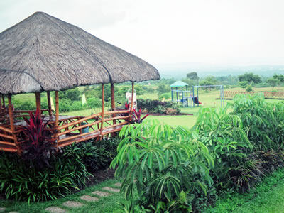 A photo of a modern bahay kubo or nipa hut made from bamboo
