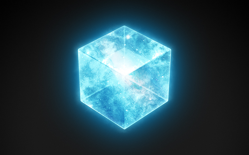 Cover image of a large cube in space. Tesseract of Work