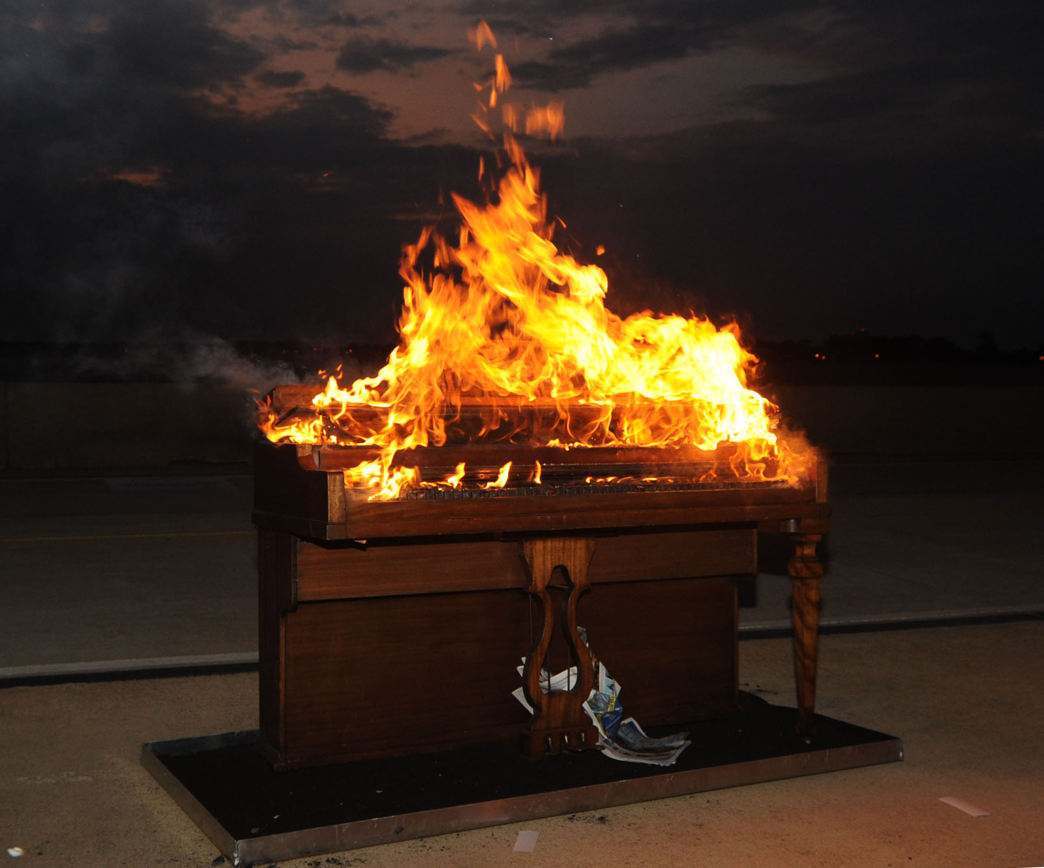 Image of a burning piano from the U.S. Air Force.