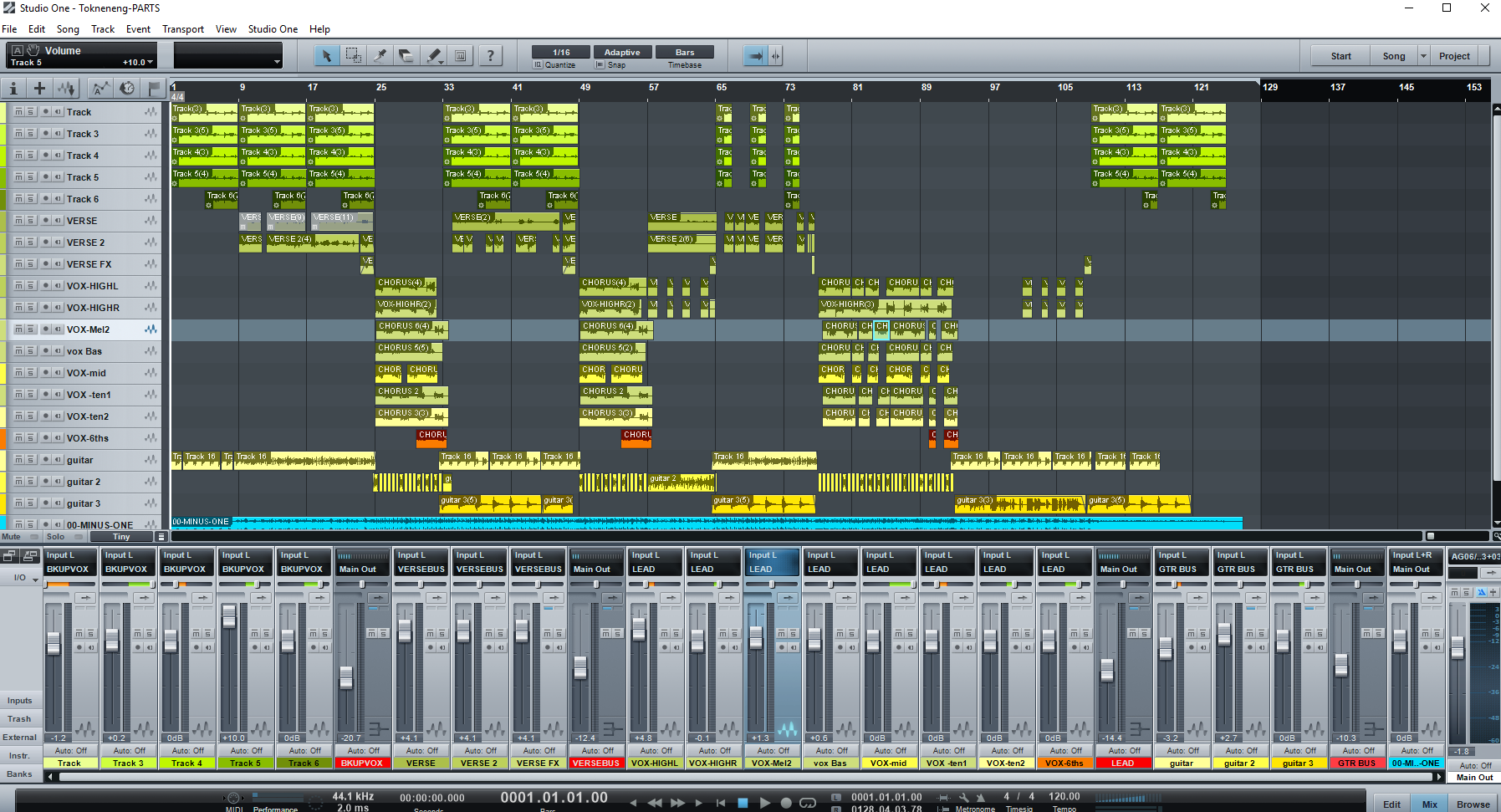 This is what it looked like assembling this song.