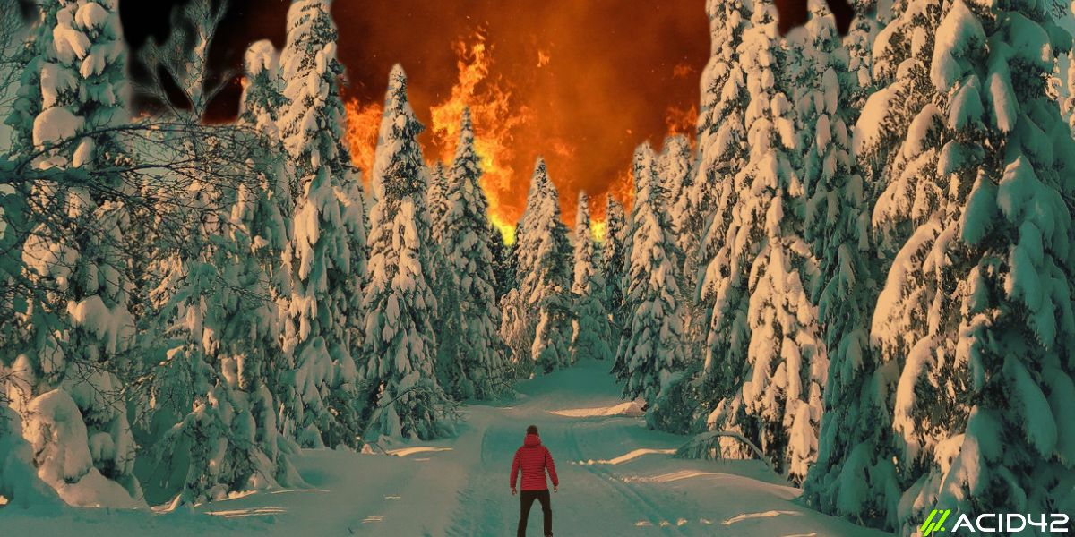 behavioral anhedonia - image of a man surrounded by snowy trees and in background is a fire